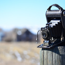 Old Camera 1 by Michael Kern - Artistic Objects Technology Objects ( farm, cabin, sky, montana, outdoors, antique, depthoffield )