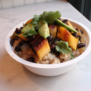 Cuban Style Black Beans and Plantains Over Oatmeal