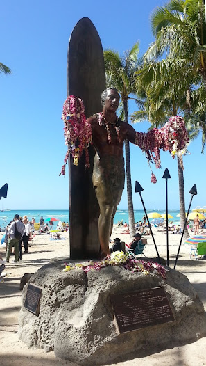 LEI CEREMONY:  YouTube Video  Statue is draped with honorary leis at 2010 ceremony.