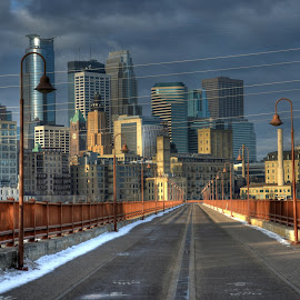 Into the Future by Dave Knapp - City,  Street & Park  Skylines ( cityscapes, minneapolis, stone arch, bridge )