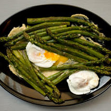 Roasted Asparagus with Poached Eggs and Miso Butter Recipe