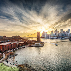 New York City by Marcus Hinz - Buildings & Architecture Bridges & Suspended Structures ( water, orange, skyline, america, manhattan, new york, yellow, usa, city, red, blue, sunset, gold, brooklyn )