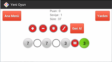 Screenshot of Dört İşlem Zeka Oyunu
