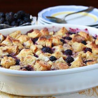Old Fashioned Vanilla Bread Pudding with Blackberries