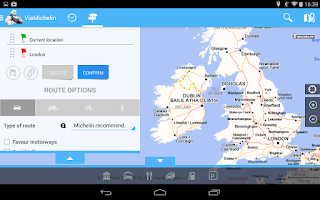 Screenshot of ViaMichelin Route planner,maps