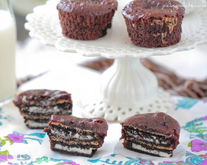 Oreo and Peanut Butter Brownie Cakes Recipe | Yummly