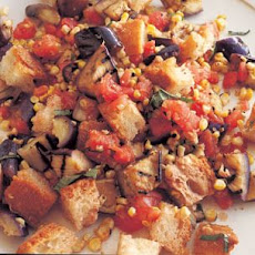 Grilled Eggplant, Corn and Bread Salad with Tomato-Basil Vinaigrette