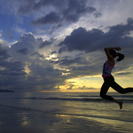 Jump by Melanie Chieng - Sports & Fitness Other Sports ( sunset, beach, jump )