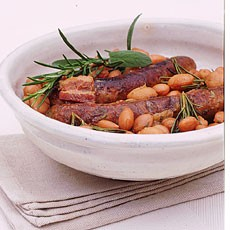 Braised Sausages with Borlotti Beans, Rosemary and Sage