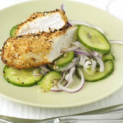 Coconut Chicken With Cucumber Salad