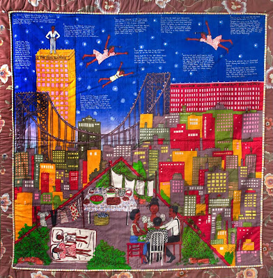 I love these murals quilts by Faith Ringgold. This one has such vibrant colors, especially the reds, yellows, and blues -- primary colors after all. I have almost the same view of the George Washington Bridge.