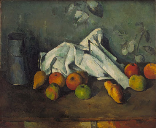 "From MoMA.org: Early in his career, Cézanne focused on violent and dark subject matter, but in the 1870s he turned to landscape and still life, a shift that allowed the radical innovation of his formal experiments to come to the fore. In Milk Can and Apples, he divides the canvas horizontally: the cool blues of the cloth, pitcher, and wallpaper contrast with the yellows, oranges, and reds of the fruit on the table. The foreshortened baguette parallels the sharp diagonal formed by the crumpled linen, and the decorative flowers and fruit on the wallpaper complement the placement of objects on the table. With this careful composition, Cézanne suggests that the painting is both a mirror of nature and something which stands apart; as he put it, ""It is understood that the artist places himself in front of nature; he copies it while interpreting it."""
