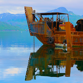 Loaded by Capt Jack - Transportation Boats ( water, reflection, old, chain, green, glassy, watersalt, workboat, rust )