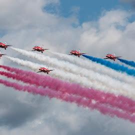 The Reds arrival at Farnborough International Airshow 2014 by Steve Lynes - Transportation Airplanes ( raf scampton, the red arrows, smoke on, hawk t1, fia 14, royal air force, raf, fia )