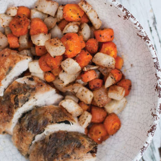 Sage Chicken & Roasted Root Vegetables with Honey Mustard Sauce