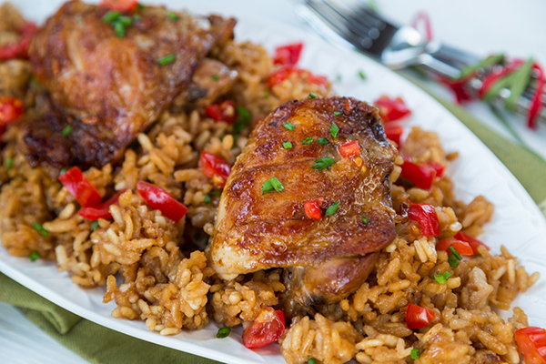 Slow Cooker Adobo Chicken and Rice Recipe | Yummly