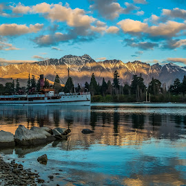 Setting Sail by Pete Whittaker - Landscapes Waterscapes ( clouds, reflection, mountain, lake, boat, landscape, new zealand )