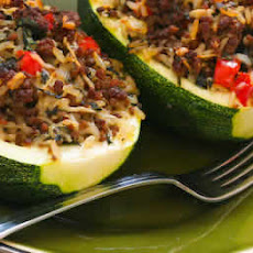 Stuffed Zucchini with Brown Rice, Ground Beef, Red Pepper, and Basil
