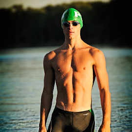 Evening Swim by B Grand - Sports & Fitness Swimming ( pst, sunset, missouri river, male., senior, swimming,  )
