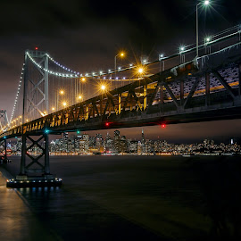 Bay Bridge by Shawn Yang - City,  Street & Park  Night ( san francisco oakland berkeley pacific ocean bay bridge california clouds long exposure night sf sky star treasure island )