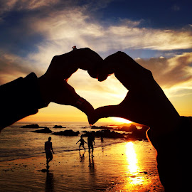 Beach Love by Josephine Gardiol - Instagram & Mobile iPhone ( love, sand, heart, sunset, beach )