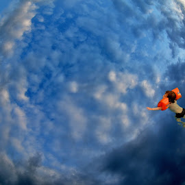 Swimming among clouds by Dasa Scuka - Digital Art Places ( clouds, challenge, contest, blue&orange, swimming, blue, orange. color )