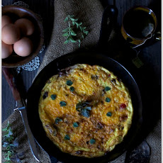 Wild Mushroom, Pancetta, and Goat Cheese Frittata