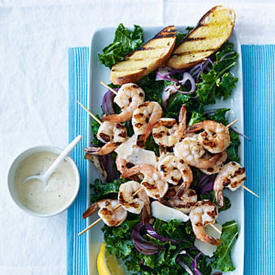 Kale Caesar Salad with Grilled Shrimp