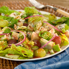 Apples, Grapes & Toasted Walnuts Over Raspberry-dressed Romaine