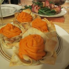 Sweet Potato Mash In Wonton Cups