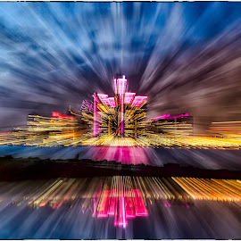 Detroit Zoom Blur by Darren Breckles - Abstract Light Painting ( abstract, light streaks, radial blur, light trails, detroit )