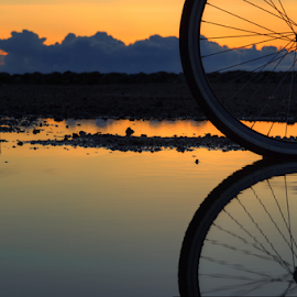 A wheel by Julija Moroza Broberg - Transportation Bicycles ( water, clouds, abstract, reflection, wheel, splash, texture, half, yellow, bike, pattern, sunset, background, perspective, puddle, view, wet, part, light, rain )