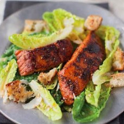 Caesar Salad With Blackened Salmon