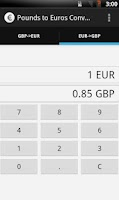 Screenshot of GB Pounds to Euros converter
