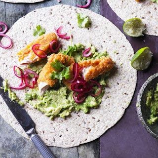 Smashed Avocado With Crispy Chicken, Pickled Onions & Tortillas