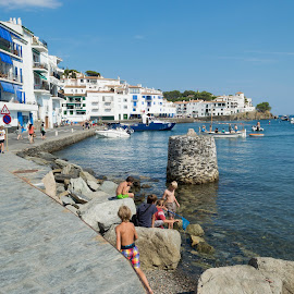 Cadaqués by Ruxandra Ciubotaru - City,  Street & Park  Vistas ( holiday, port, summer, sea, sunlight, builidings )