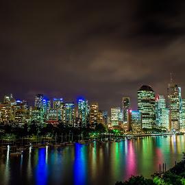 Brisbane Cityscape by Eduardo García-Prieto - City,  Street & Park  Skylines ( queensland, australia, brisbane, nightline, cityscape )