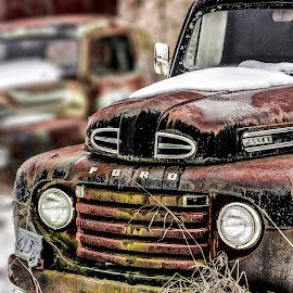Old Ford Truck by Linda Robinson - Transportation Automobiles ( farm, winter, truck, automobile, auto, landscape )