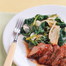 Honey-Glazed Pork with Wilted Greens