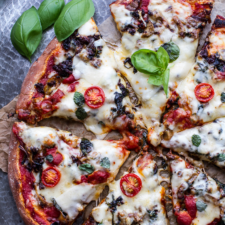 Cheesy Fontina Caramelized Onion and Chorizo Spinach + Artichoke Pizza ...