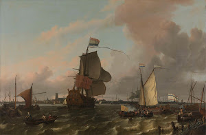 RIJKS: Ludolf Bakhuysen: The Man-of-War Brielle on the River Maas off Rotterdam 1689
