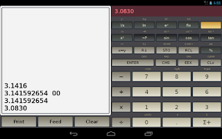 Screenshot of HP-45 scientific calculator