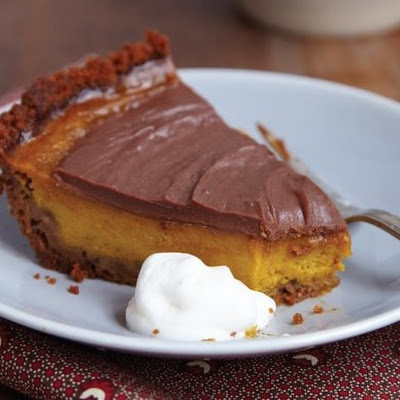 Pumpkin-Milk Chocolate Pie with Gingersnap Crust