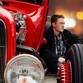 Model T  by Mary Cole - People Portraits of Men ( car, red, model t, bokeh, senior )