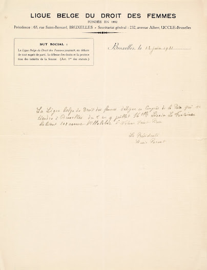 Letter from Marie Parent, President of the Ligue Belge du Droit des Femmes, 1931
