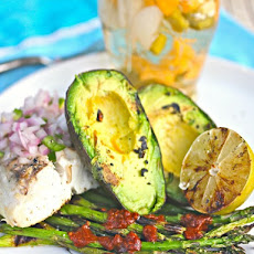 Grilled Halibut with Spicy Red Onion Relish, Avocados, Asparagus, and Chipotle Vinaigrette