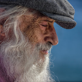 Thinking Man by Stanley Azzopardi - People Street & Candids ( old, blue, cap, white, beard, old man, man )