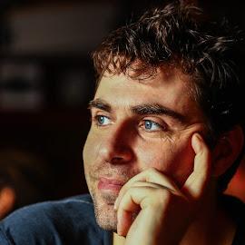 V. by Daniel Chobanov - People Portraits of Men ( dreaming, blue, bulgarian, man, eyes )