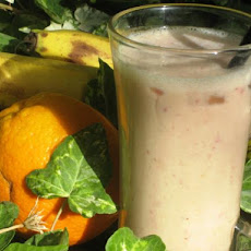 Healthy Strawberry, Orange, Banana, Soymilk Smoothie