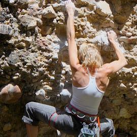 By Her Fingertips by Darlene Dunnum - Sports & Fitness Climbing ( rock climbing, rock formations, utah, rock climber, belay )
